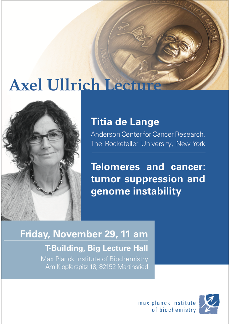 Titia de Lange - November 29, 11 amTelomeres and cancer: tumor suppression and genome instability